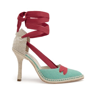 Castañer by Manolo Blahnik high-heel linen vamp and heel