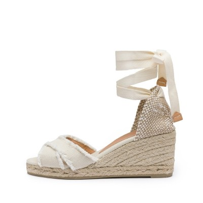Bluma canvas wedge espadrille in ivory 7cm