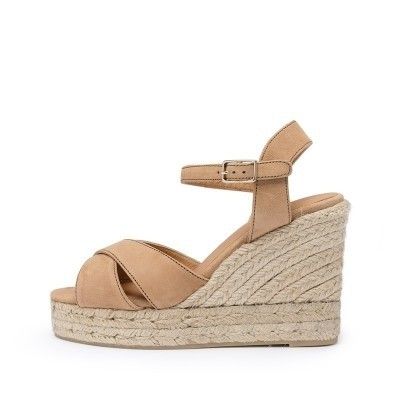 Blaudell suede wedge espadrille in coffee colour 11cm