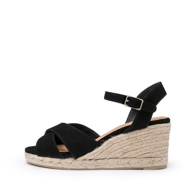 Blaudell suede wedge espadrille in black 7cm