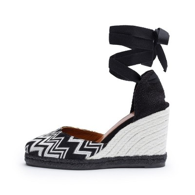 Carina black and white fabric wedge espadrille 9.5cm by Missoni