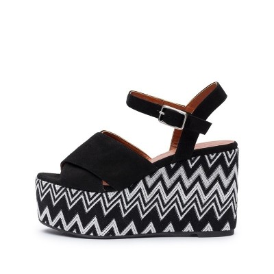 Engie black and white fabric wedge espadrille by Missoni