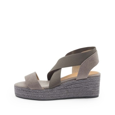 Bernard colorblock canvas wedge in Davy's grey 6,5cm