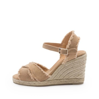 Bromelia canvas wedge espadrille in coffee-color 9cm
