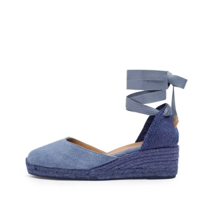 Carina colorblock canvas wedge espadrille in light blue denim 5cm