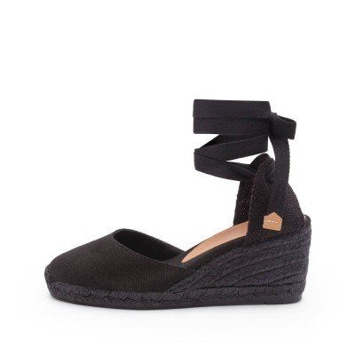 Carina colorblock canvas wedge espadrille in black 7cm