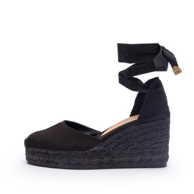 Carina colorblock canvas wedge espadrille in black 9cm