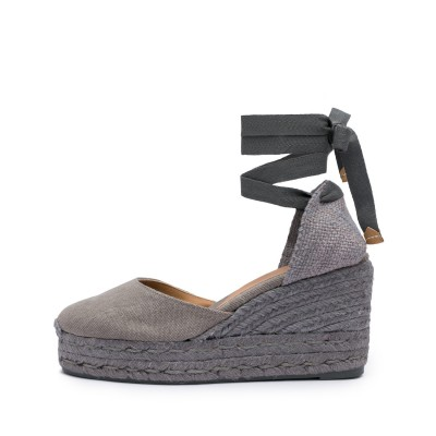 Carina colorblock canvas wedge espadrille in Davy's grey 9cm