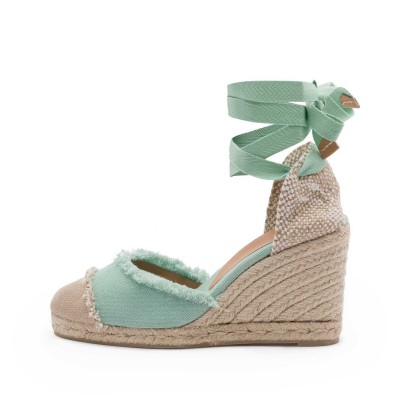 Catalina canvas wedge espadrille in mint green 9cm