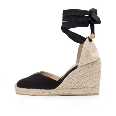 Chiara V-shaped upper canvas wedge espadrille