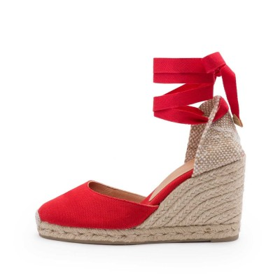 Carina canvas wedge espadrille in ruby red 9cm