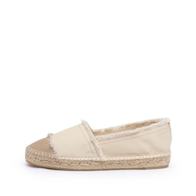 Kampala canvas flat espadrille in ivory 2cm